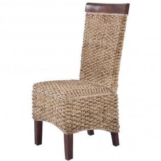 Stuhl in der naturlichen Hyazinthe Faser mit Mahagoni