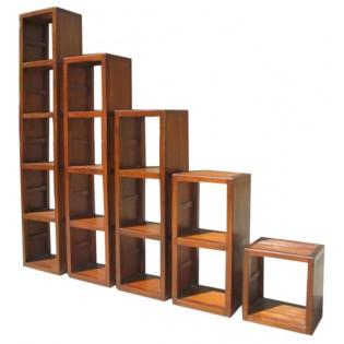Modul 2 in Teak und hellbraunen Bambus