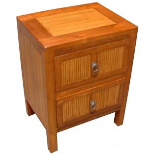 Nachttisch mit zwei Schubladen in Teak und Bambus