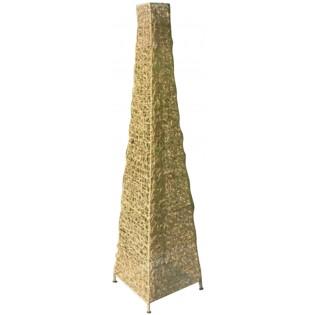 lampada piramidale in rattan