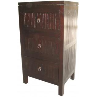 3-Schubladen Nachttisch in dunklem Bambus und Mahagoni