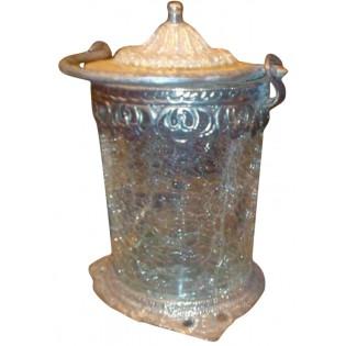 Indische Silber und Glas Kerzenhalter