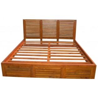 Bett aus hellem Mahagoni