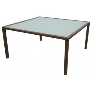 Hochwertige Gartentisch mit Aluminium-Rahmen und aus Polyrattan bedeckt