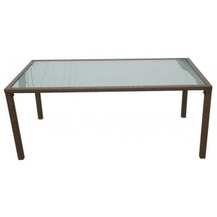 Feine Gartentisch mit Aluminium-Struktur und aus Polyrattan bedeckt