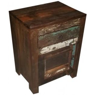 1-Schublade Nachttisch aus farbigen Altholz aus Indien