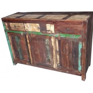 Farbige Holzschrank aus recyceltem Holz aus Indien