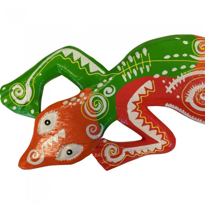 Medium gemalte gecko grun und orange 50x10x1 etnicart - Alpina gecko grun ...