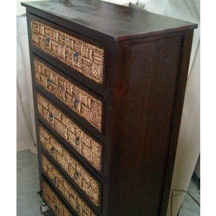 High chest of drawers with water hyacinth carving