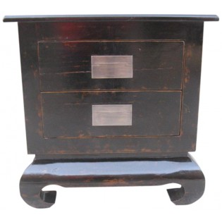 black bedside table with two drawers
