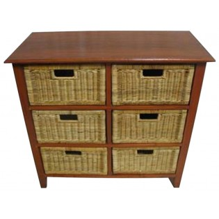 6-drawers piece in mahogany and rattan