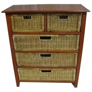 5-drawers mahogany and rattan piece