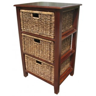 3-drawers mahogany and seagrass piece