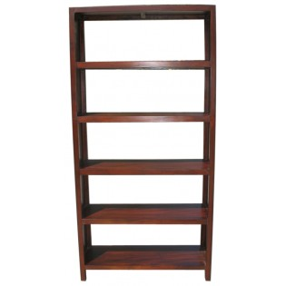 5-shelves library in teak and bamboo