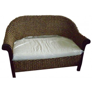 2-seater sofa in mahogany and water hyacinth