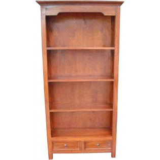 Light acacia bookcase with drawers