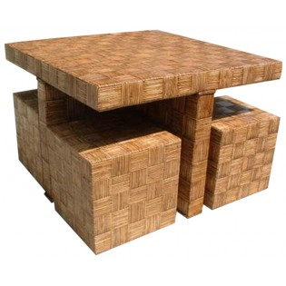 table set with square stools (every stool 45x45x45)