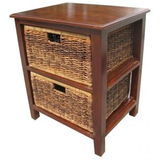 2-drawers piece in mahogany and banana