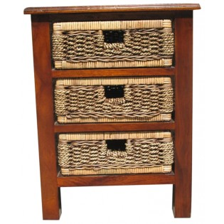 3-mini drawers mahogany and seagrass piece