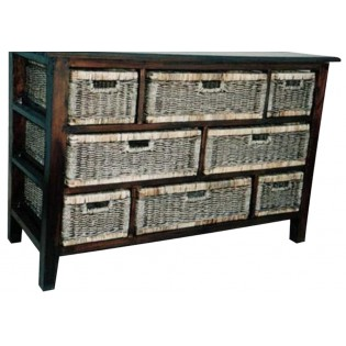 8-drawers mahogany and seagrass piece