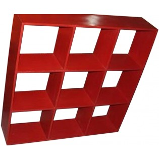 Open square red bookcase