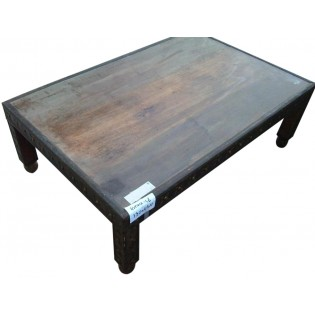 Coffee table in wood and brass