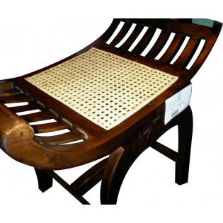 mahogany and rattan bench
