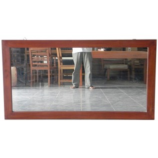 rectangular mirror in mahogany