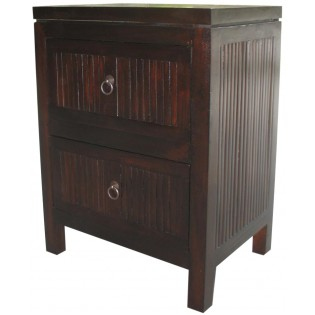 Dark bedside with two drawers in mahogany and bamboo