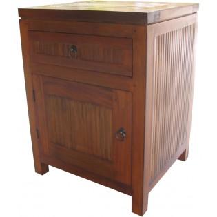 Light nightstand with door and drawer