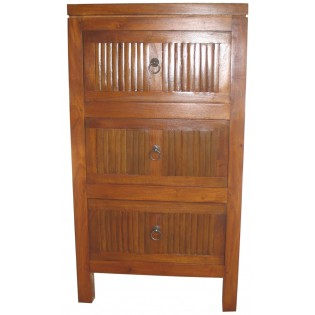 3-drawers bedside table in light bamboo and mahogany
