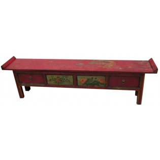 Antique poplar-wood low cabinet