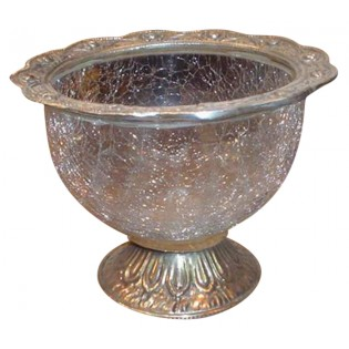 silver and glass bowl