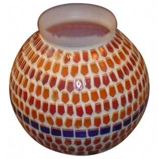 resin and glass small vase with mosaic finishing
