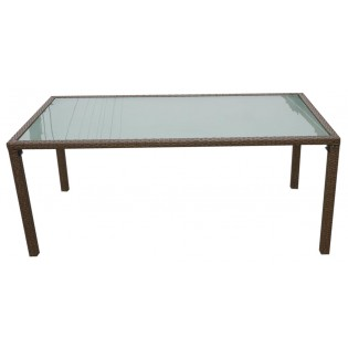 Fine outdoor table with aluminum structure and covered in Polyrattan