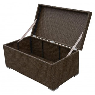 High-quality linen closet for outdoor use with aluminum frame and covered in Polyrattan