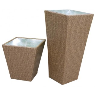 Small plant-rack vase for outdoor use of high quality with aluminum structure and Polyrattan upholstery