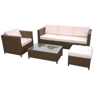 Fine outdoor set with aluminum frame and covered in Polyrattan