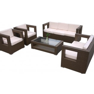 High-quality set for outdoor use with aluminum frame and covered in Polyrattan