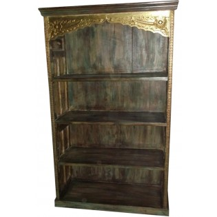 Indian bookcase with brass inserts