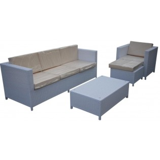 Refined set for outdoor use with aluminum structure and covered in Polyrattan