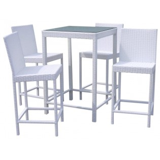 High table with stools for outdoor use aluminum structure and Polyrattan upholstery