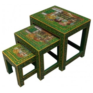 Painted Indonesian coffee table (the larger in the photo)