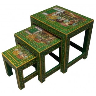 Indonesian painted coffee table (the smaller in the photo)