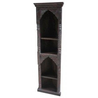 Carved angular bookcase