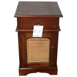 Bedside table with rattan inserts