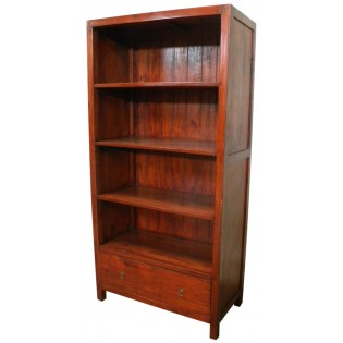 4-shelves Indonesian bookcase in mahogany