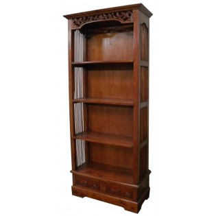 4-shelves and 2-drawers mahogany bookcase