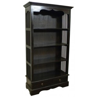 4-shelves and 2-drawers dark mahogany bookcase
