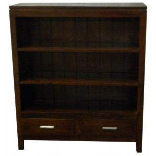 3-shelves and 2-drawers dark mahogany bookcase